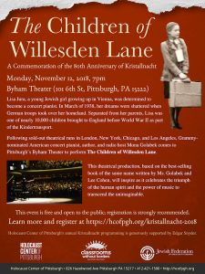 The Children of Willesden Lane, a Commemoration in Honor of the 80th Anniversary of Kristallnacht