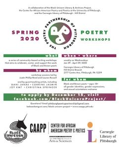 Poetry Partnership of Pittsburgh Workshop Series